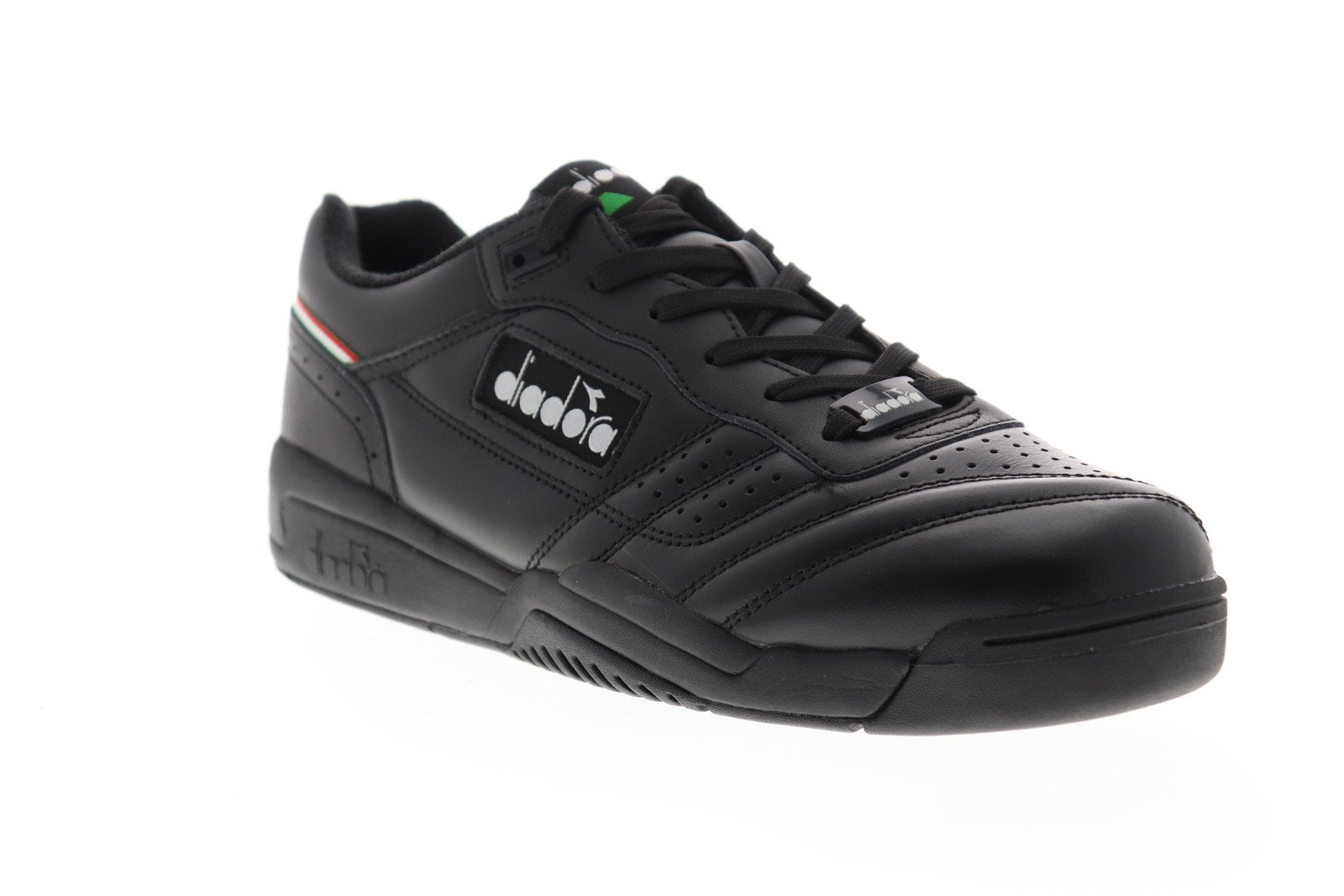 Diadora Action Mens Black Leather Low Top Lace Up Sneakers Shoes