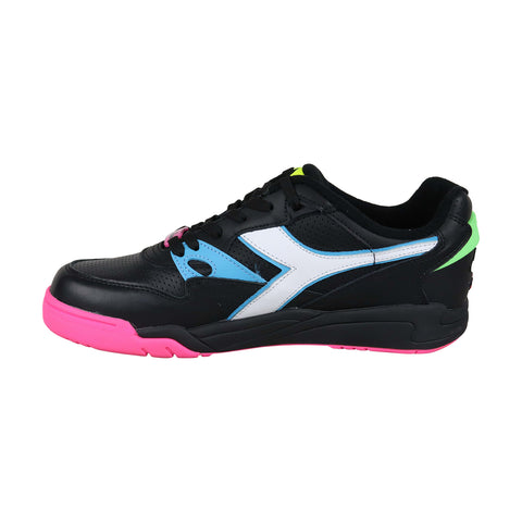 Diadora Rebound Ace Fluo Fl Mens Black Leather Sneakers Lace Up Tennis Shoes