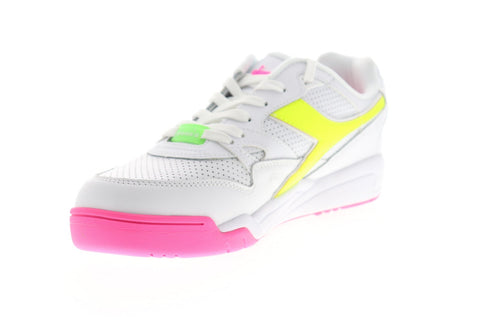 Diadora Rebound Ace Fluo 175546-C3772 Mens White Leather Low Top Sneakers Shoes