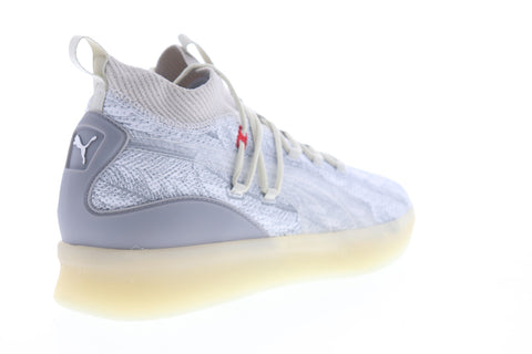 Puma Clyde Court Poe 19189601 Mens Gray Canvas Lace Up Athletic Basketball Shoes