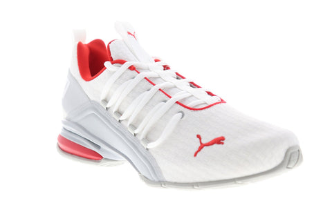 Puma Axelion Block 19314802 Mens White Canvas Lace Up Athletic Running Shoes
