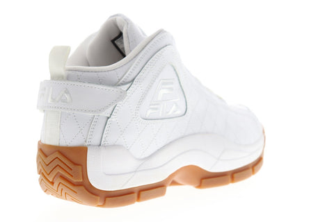 Fila 96 Quilted Mens White Leather Athletic Lace Up Basketball Shoes