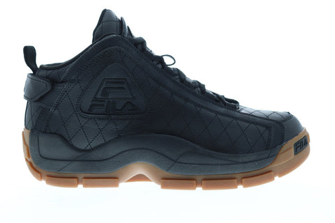 Fila 96 Quilted Mens Black Leather High Top Lace Up Sneakers Shoes
