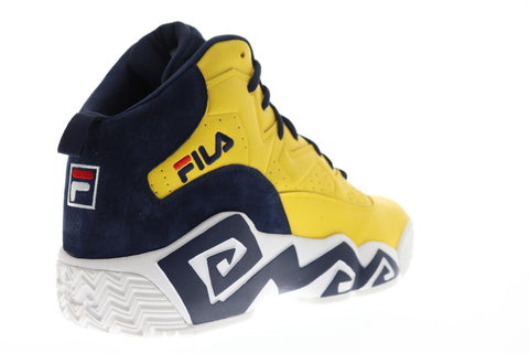 Fila Mb Mens Yellow Leather Athletic Lace Up Basketball Shoes