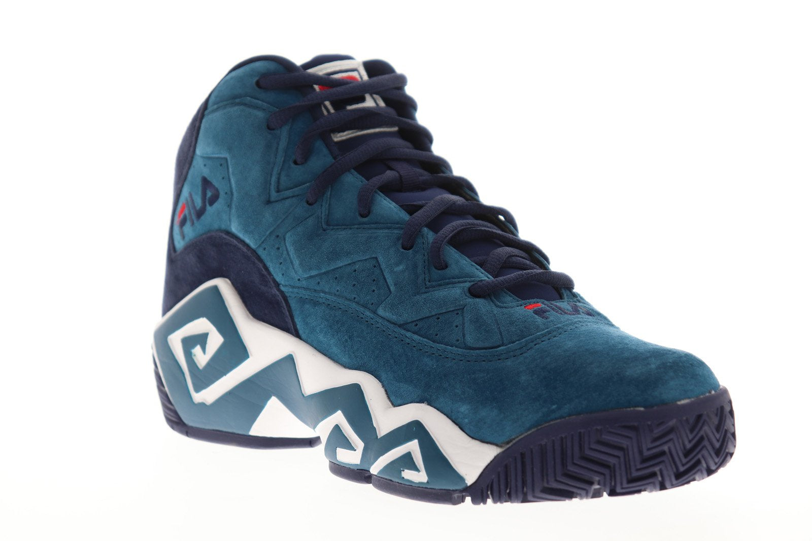 Fila Mb 1BM00051 421 Mens Blue Suede Lace Up Athletic Gym Basketball Shoes