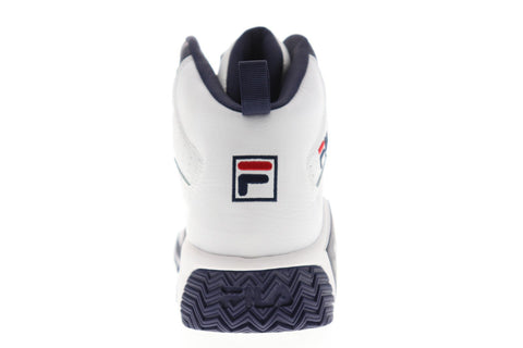 Fila Mb Mens White Leather Athletic Lace Up Basketball Shoes