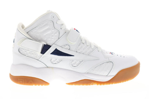 Fila Spoiler Small Logos Mens White Leather High Top Sneakers Shoes
