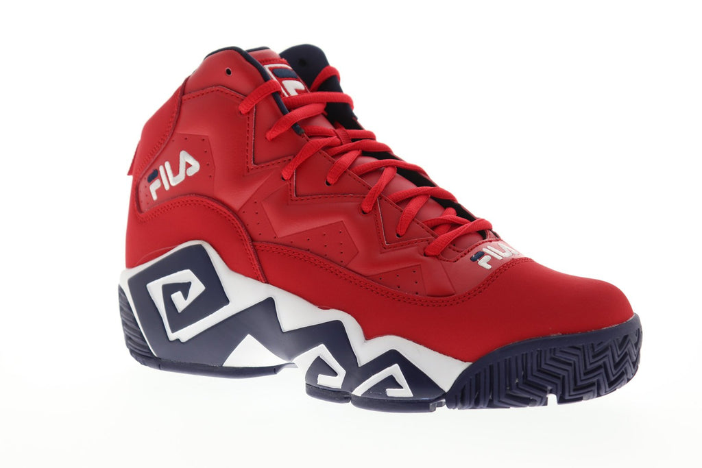 Fila Mb 1BM00510 616 Mens Red High Top Lace Up Athletic Gym Basketball Shoes