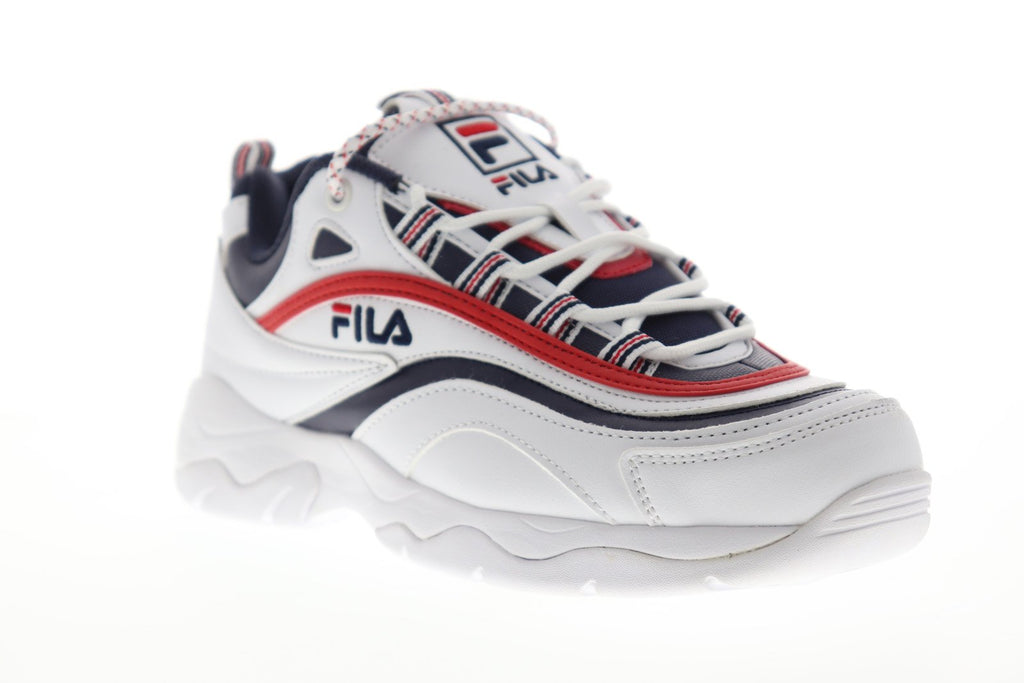 Fila Ray 1CM00501 125 Mens White Casual Lace Up Low Top Sneakers Shoes