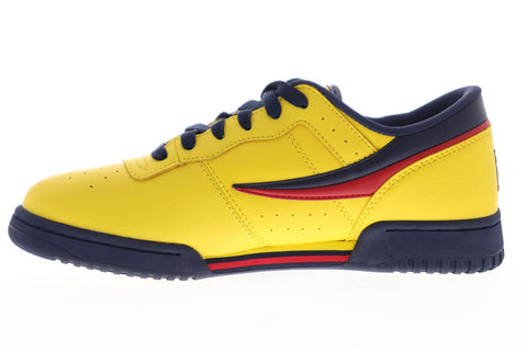 Fila Original Fitness Mens Yellow Leather Low Top Lace Up Sneakers Shoes
