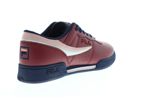 Fila Original Fitness Mens Red Leather Low Top Lace Up Sneakers Shoes