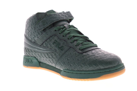 Fila F-13 Small Logos Mens Green Leather High Top Lace Up Sneakers Shoes