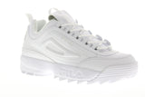 Fila Disruptor II Premium Mens White Leather Low Top Lace Up Sneakers Shoes