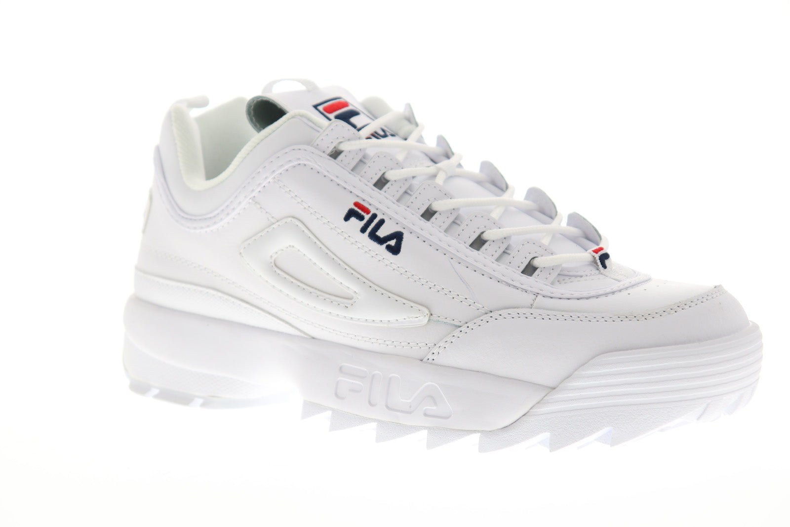 Fila Disruptor II Premium Mens White Leather Casual Low Top Sneakers Shoes