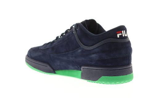 Fila T-1 Mid Mens Blue Suede Low Top Lace Up Sneakers Shoes