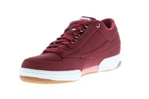 Fila T-1 Mid Promo Mens Red Nubuck Low Top Lace Up Sneakers Shoes