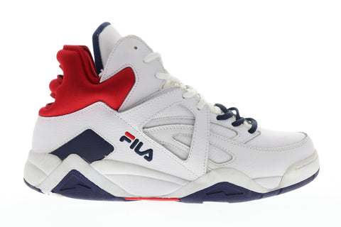 Fila The Cage Mens White Leather High Top Lace Up Sneakers Shoes