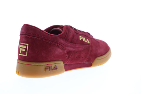 Fila Original Fitness Premium Mens Red Suede Low Top Lace Up Sneakers Shoes