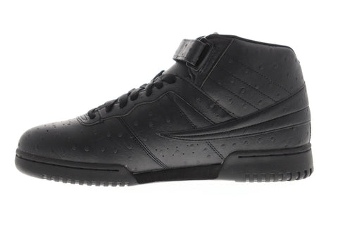 Fila F-13 Ostrich Mens Black Leather Low Top Lace Up Sneakers Shoes