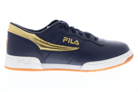 Fila Original Fitness Mens Blue Leather Low Top Lace Up Sneakers Shoes