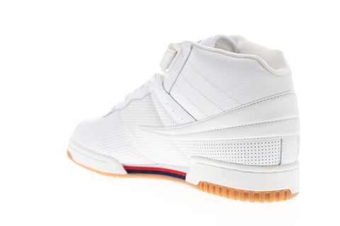 Fila F-13 Perf Mens White Leather Low Top Lace Up Sneakers Shoes
