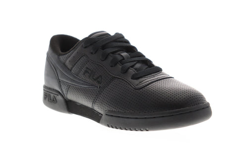 Fila Original Fitness Perf Mens Black Leather Low Top Sneakers Shoes