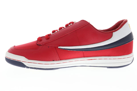 Fila Original Tennis Mens Red Canvas Low Top Lace Up Sneakers Shoes