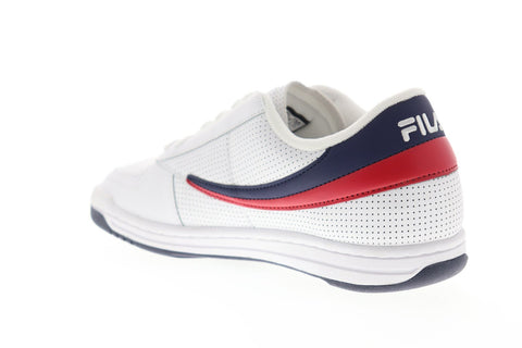 fila original tennis perf mens white leather casual low
