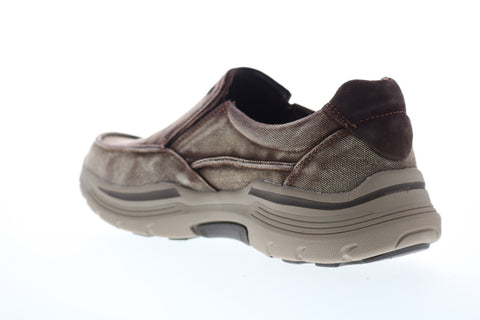 Skechers Expended Upsen 204006 Mens Brown Canvas Casual Loafers Shoes