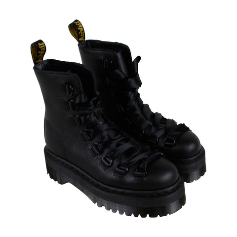 Dr. Martens Trevonna Mens Black Leather Casual Dress Lace Up Boots Shoes