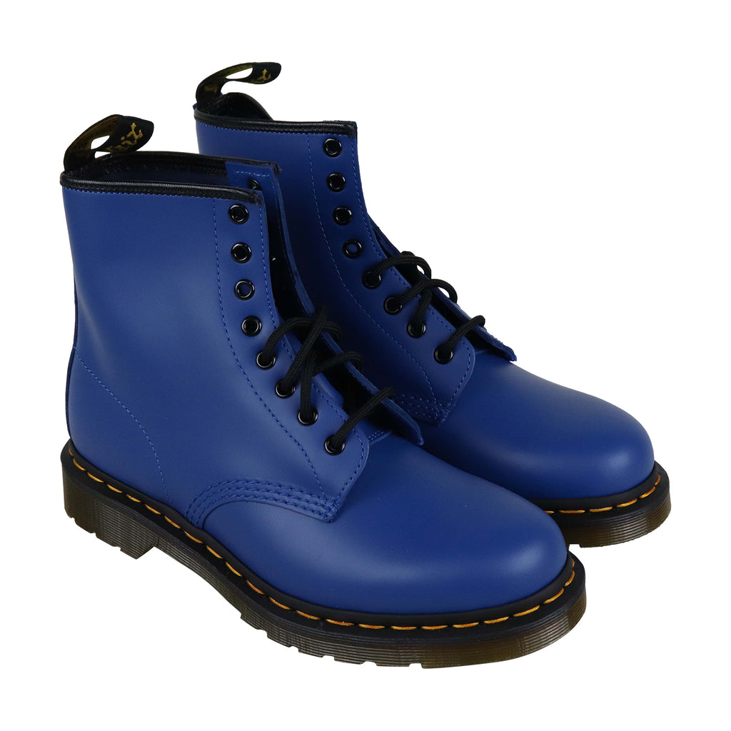 ded18deb980 Dr. Martens 1460 Smooth Mens Blue Leather Casual Dress Lace Up Boots Shoes