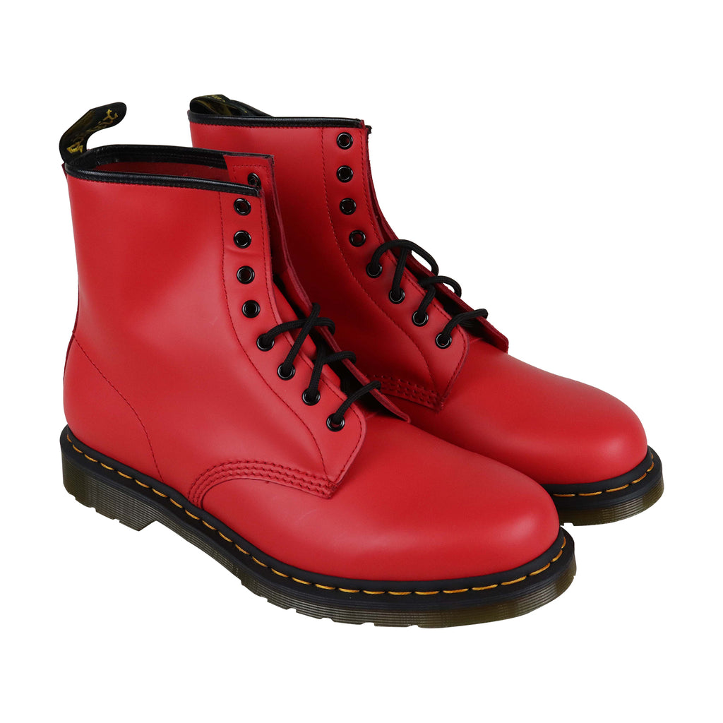 4e52a59e48e Dr. Martens 1460 Smooth Mens Red Leather Casual Dress Lace Up Boots Shoes