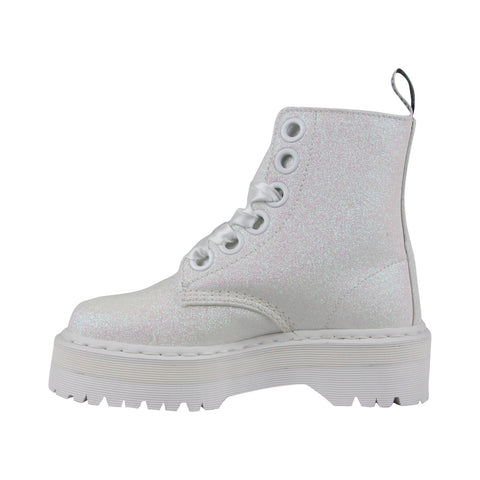 Dr. Martens Molly Glitter R24860123 Womens White Canvas Casual Dress Boots Shoes