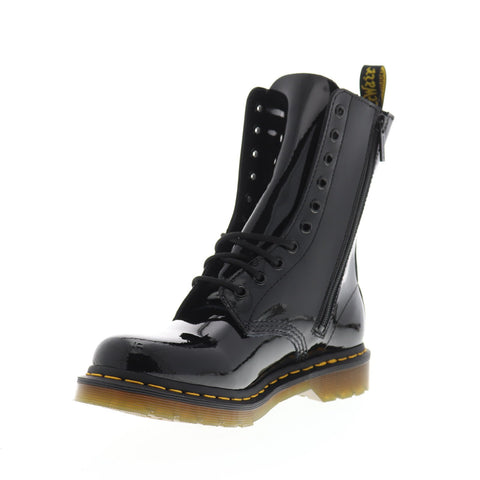 Dr. Martens 1490 Patent Womens Black Leather Casual Dress Boots Shoes