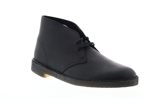 Clarks Desert Boot 26103683 Mens Black Leather Mid Top Lace Up Desert Boots