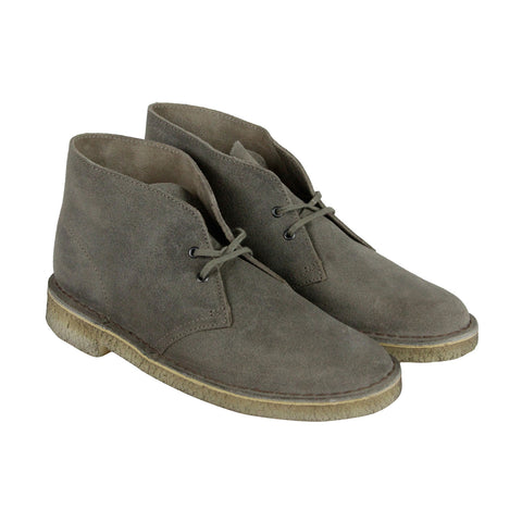 Clarks Desert Boot Mens Gray Suede Casual Dress Lace Up Chukkas Shoes