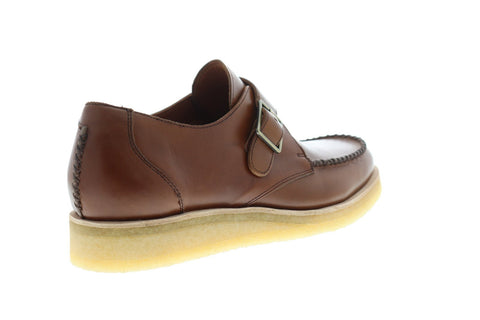 Clarks Burcott Monk Mens Brown Leather Casual Strap Oxfords Shoes