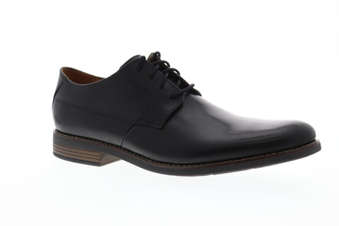 Clarks Becken Plain Mens Black Leather Casual Dress Lace Up Oxfords Shoes