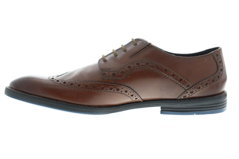 Clarks Prangley Limit Mens Brown Leather Casual Dress Lace Up Oxfords shoes