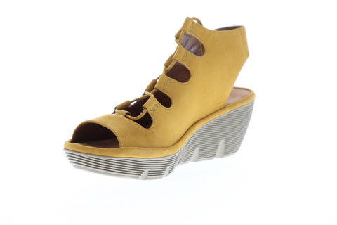 Clarks Clarene Grace Womens Yellow Nubuck Heels Lace Up Wedges Shoes