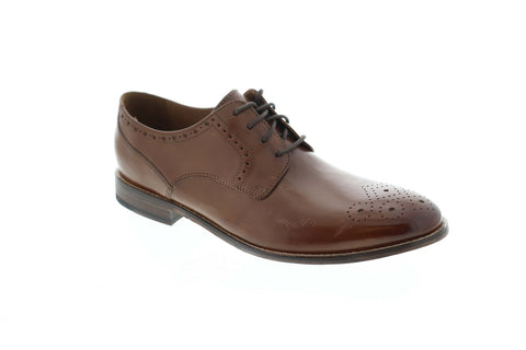 Bostonian Ensboro Plain 26125014 Mens Tan Brown Leather Plain Toe Oxfords Shoes