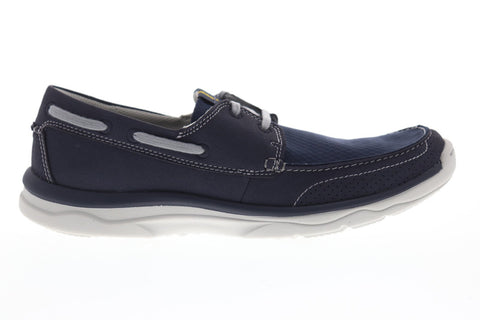 Clarks Marus Edge Mens Blue Mesh & Leather Casual Dress Lace Up Boat Shoes