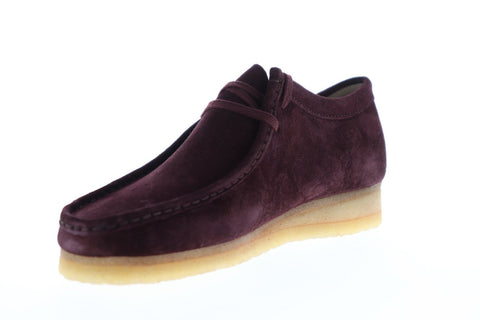 Clarks Wallabee Mens Red Suede Casual Dress Lace Up Chukkas Shoes