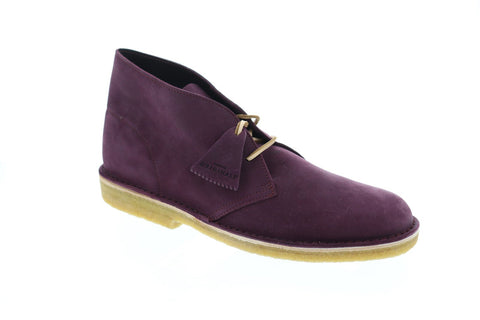 Clarks Desert Boot Mens Purple Nubuck Casual Dress Lace Up Chukkas shoes