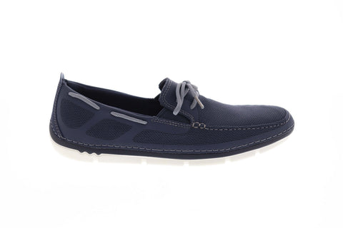 Clarks Step Maro Wave 26132594 Mens Blue Canvas Deck Lace Up Boat Shoes Loafers