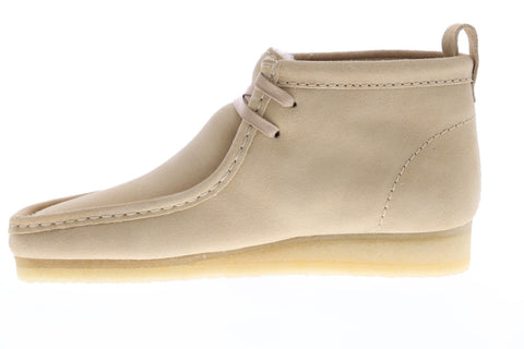 Clarks Wallabee Boot Mens Beige Suede Casual Dress Lace Up Chukkas Shoes