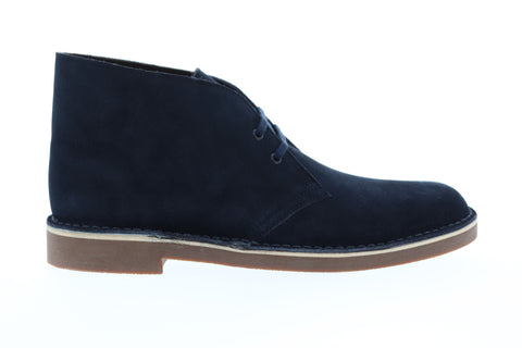 Clarks Bushacre 2 Mens Blue Suede Casual Dress Lace Up Chukkas Shoes