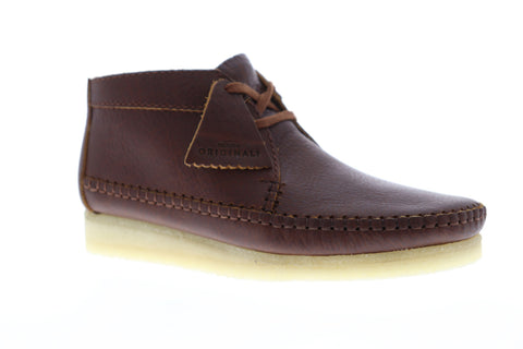Clarks Weaver Boot Mens Brown Leather Casual Dress Lace Up Chukkas Shoes