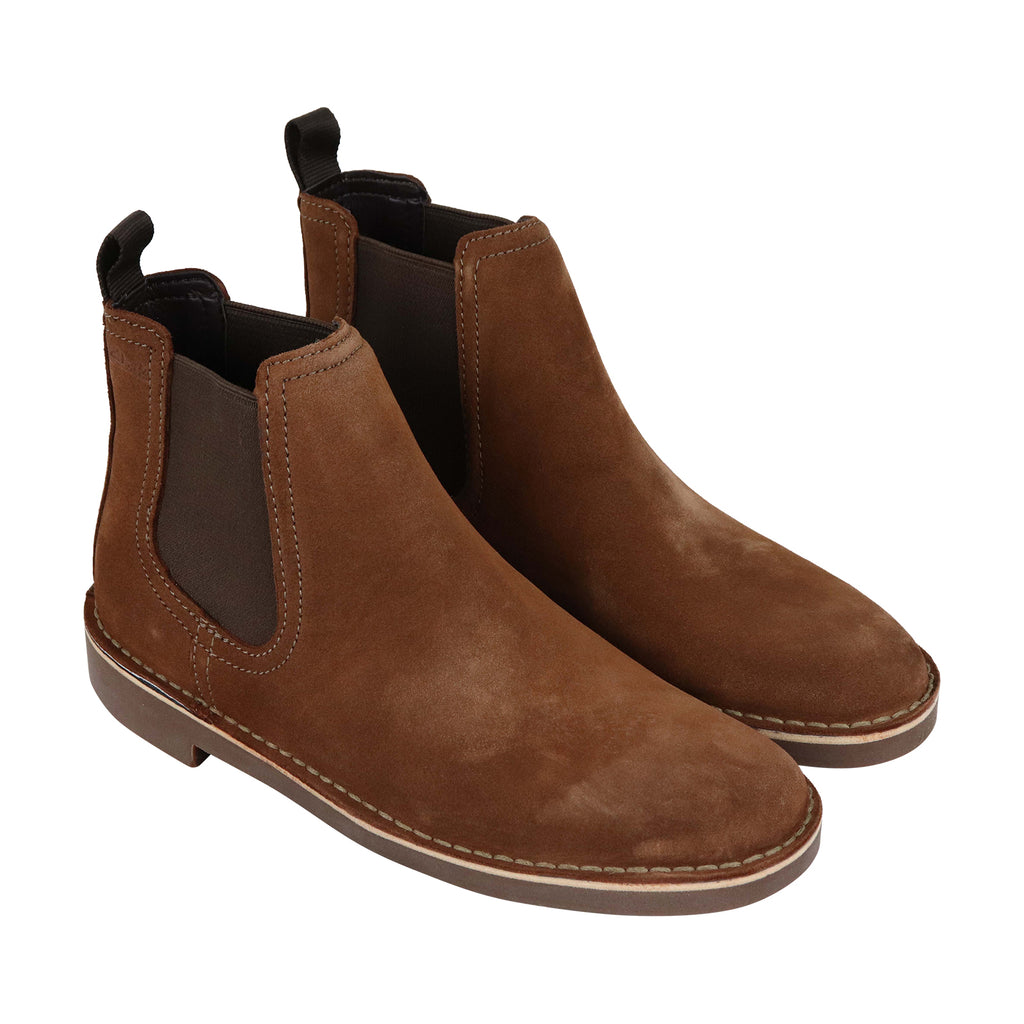 b7ad3cfcb78 Clarks Bushacre Hill Mens Tan Suede Casual Dress Slip On Boots Shoes ...