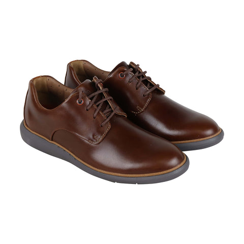 Clarks Un Voyageplain Mens Leather Brown Casual Dress Lace Up Oxfords Shoes